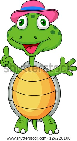 Turtle with thumb up - stock photo