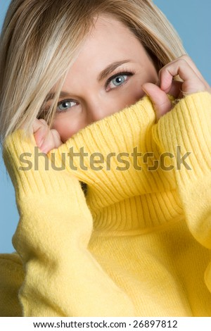 Turtleneck Sweater Girl - stock photo