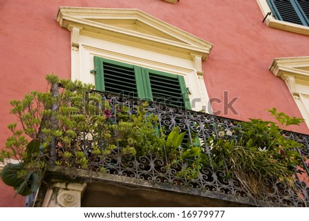 Tuscan balcony - stock photo