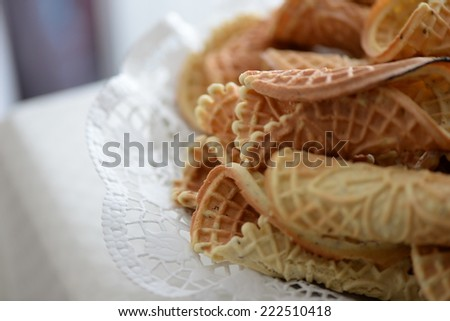 Tuscan biscuits, brigidini, Italy - stock photo