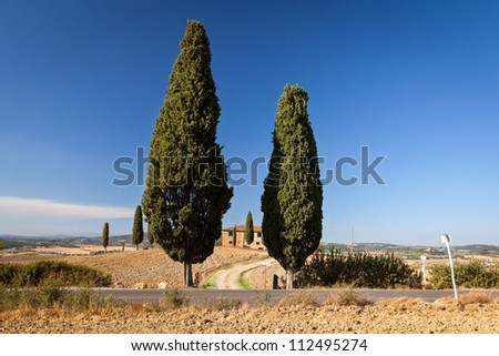 Tuscan countryside near Pienza, Tuscany, Italy - stock photo