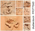 tuscan craft collage, angelic reliefs in terracotta, Italy - stock photo