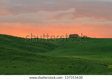 Tuscan Farm House at dawn - stock photo