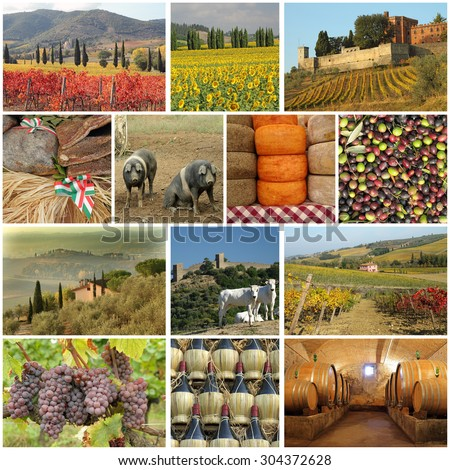 tuscan food industry collage - stock photo