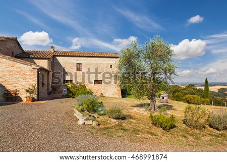 Tuscan, Italy - July 10, 2015: Typical beautiful Tuscan old farmhouse. Italy