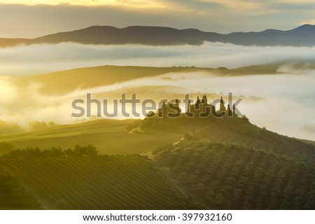 Tuscan landscape.Beautiful Tuscan  misty morning