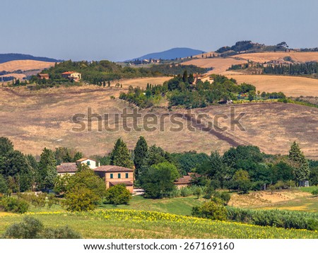 Tuscan Landscape during a Bright Summer Day - stock photo