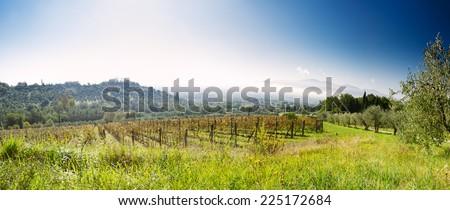 Tuscan Landscape in autumn - stock photo