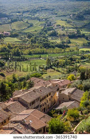 Tuscan rural fields as seen from the city of San Gimignano, Italy