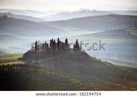 Tuscany. Early morning in Val d'Orcia, Italy - stock photo