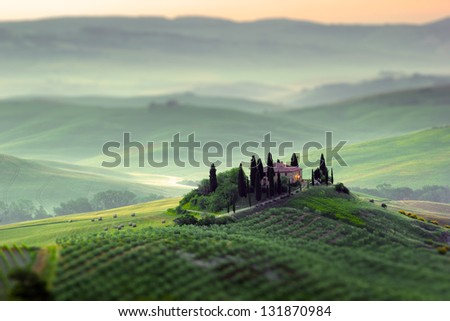 Tuscany, early morning landscape - stock photo
