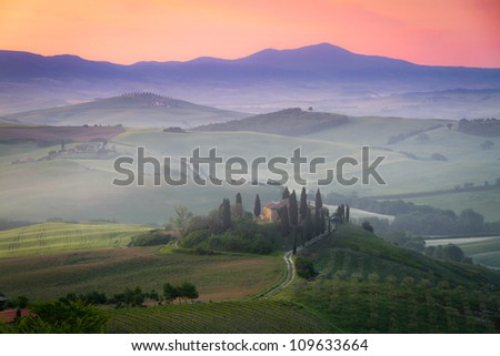 Tuscany Farmhouse Belvedere at dawn, San Quirico d'Orcia, Italy - stock photo