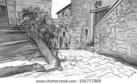 tuscany illustration - stock photo