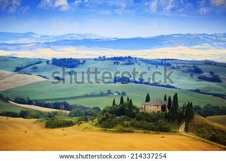Tuscany, Italiy - San Quirico d'Orcia - stock photo