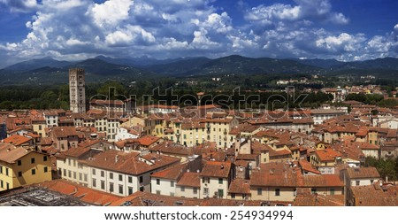 Tuscany, Italy: aerial view of Lucca medieval city - stock photo