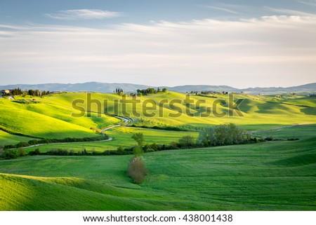 TUSCANY, ITALY - APRIL 11, 2016: Rolling green country in spring near Siena, Tuscany, Italy - stock photo