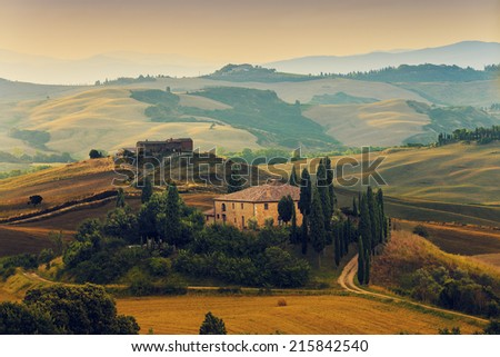 Tuscany, Italy - San Quirico d'Orcia (filtered) - stock photo