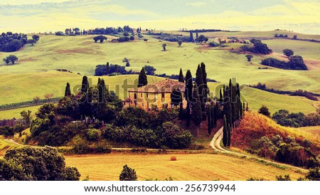 Tuscany, Italy - San Quirico d'Orcia (filtered image) - stock photo