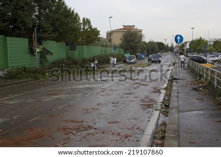 Tuscany, Italy, September 19, 2014: After the hailstorm. Disaster after a power hailstorm in Tuscany, Italy