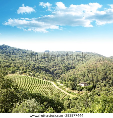 Tuscany landscape and rural farm