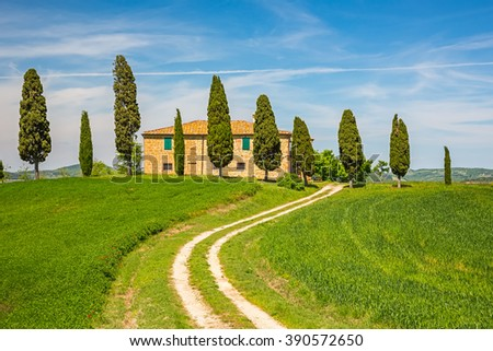 Tuscany landscape at spring , Italy - stock photo