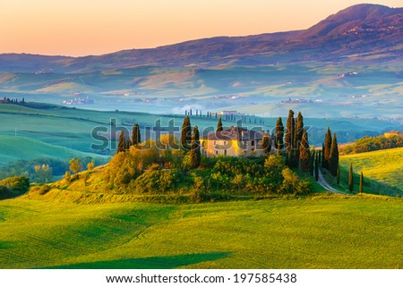 Tuscany landscape at sunrise - stock photo