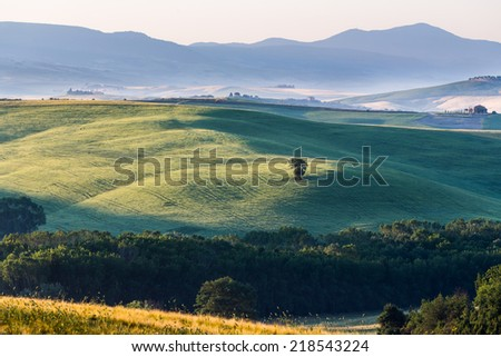 Tuscany landscape in spring time - stock photo