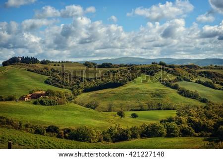 Tuscany - Landscape panorama, Toscana - Italy - stock photo