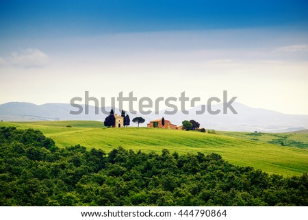 Tuscany landscape with a little chapel of Madonna di Vitaleta, San Quirico d'Orcia, Italy - stock photo