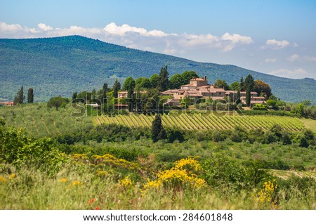 Tuscany landscape with a small village in the background