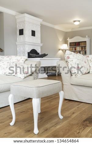 Tuscany - Living room stylish white furniture - stock photo