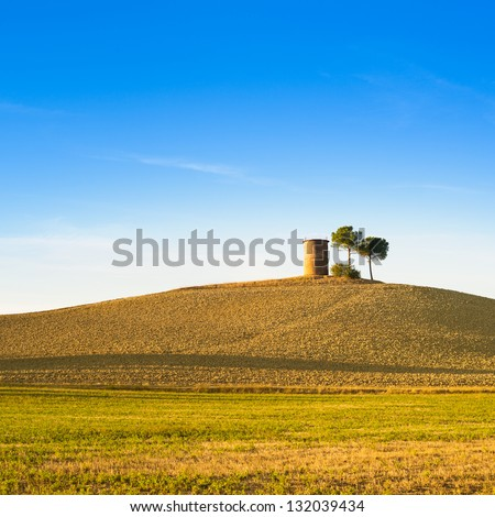 Tuscany, Maremma typical countryside sunset landscape with hill, tree and rural tower.