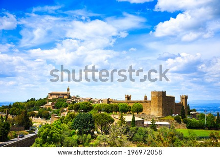 Tuscany, Montalcino italian medieval village, fortress and church view. Brunello wine town.Siena, Val d Orcia, Italy. - stock photo