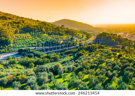 Tuscany panoramic landscape.Italian motorway,Tuscany. - stock photo