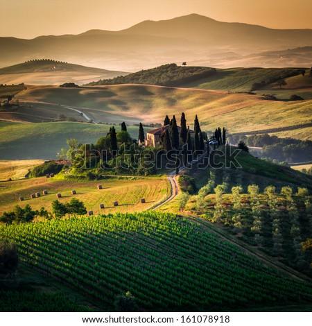 Tuscany, panoramic landscape - Italy - stock photo
