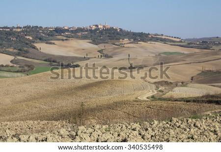 Tuscany, Pienza italian medieval village, church detail. Siena, Val d'Orcia, Italy. - stock photo