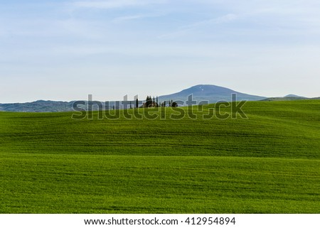Tuscany rural wallpaper-on the hills in Tuscany, Italy - stock photo