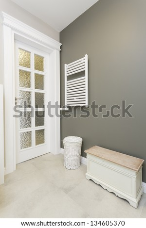 Tuscany - stylish bathroom furniture, wooden seat - stock photo