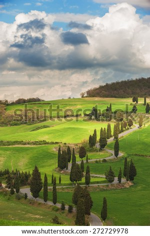 Tuscany twisted road with cypresses - stock photo