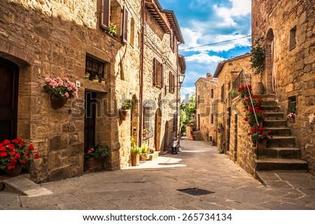 Tuscany village - stock photo