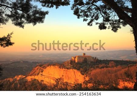 Tuscany, Volterra Le Balze rural sunset landscape.Italy, Europe. - stock photo