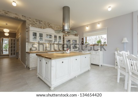 Tuscany - white wooden countertop in kitchen - stock photo