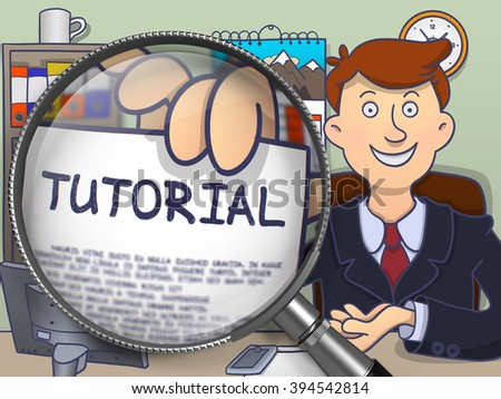 Tutorial. Happy Business Man Welcomes in Office and Holds Out a Paper with Concept through Magnifying Glass. Colored Modern Line Illustration in Doodle Style. - stock photo