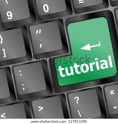 tutorial or e learning concept with key on computer keyboard, raster - stock photo
