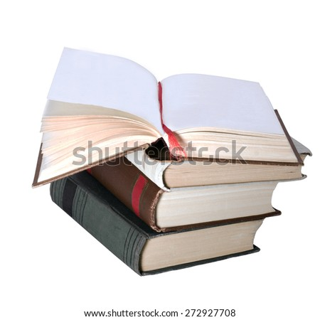 tutu books with an open book from top isolated on white background - stock photo