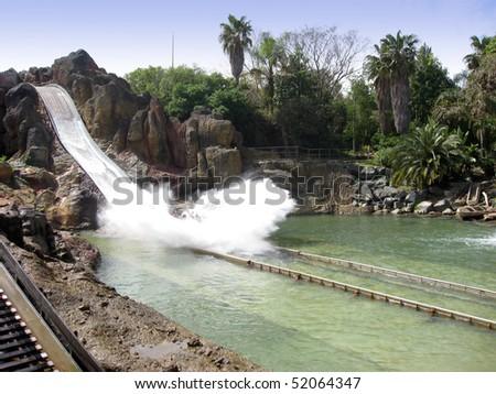Tutuki splash  Port Aventura theme park Spain Catalonia Tarragona Spain Europe - stock photo