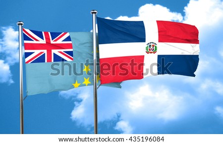 Tuvalu flag with Dominican Republic flag, 3D rendering
