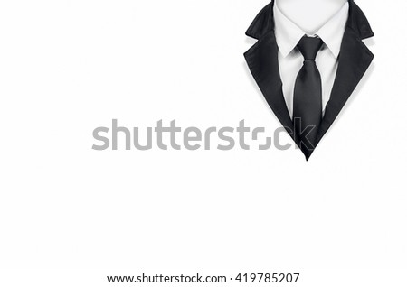 Tuxedo with tie on white background with clipping path.