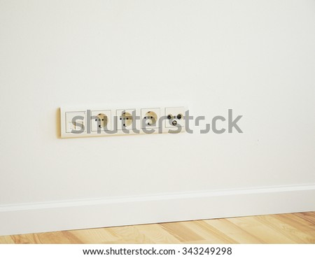 TV Aerial, Telephone and ADSL Socket and European Power in the New Flat with Wooden Floor - stock photo