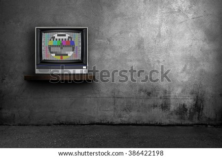 TV and dark room interior